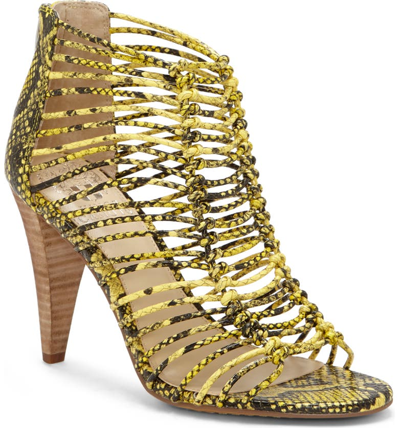 VINCE CAMUTO Alsandra Strappy Cage Sandal, Main, color, SNAKE PRINT LEATHER