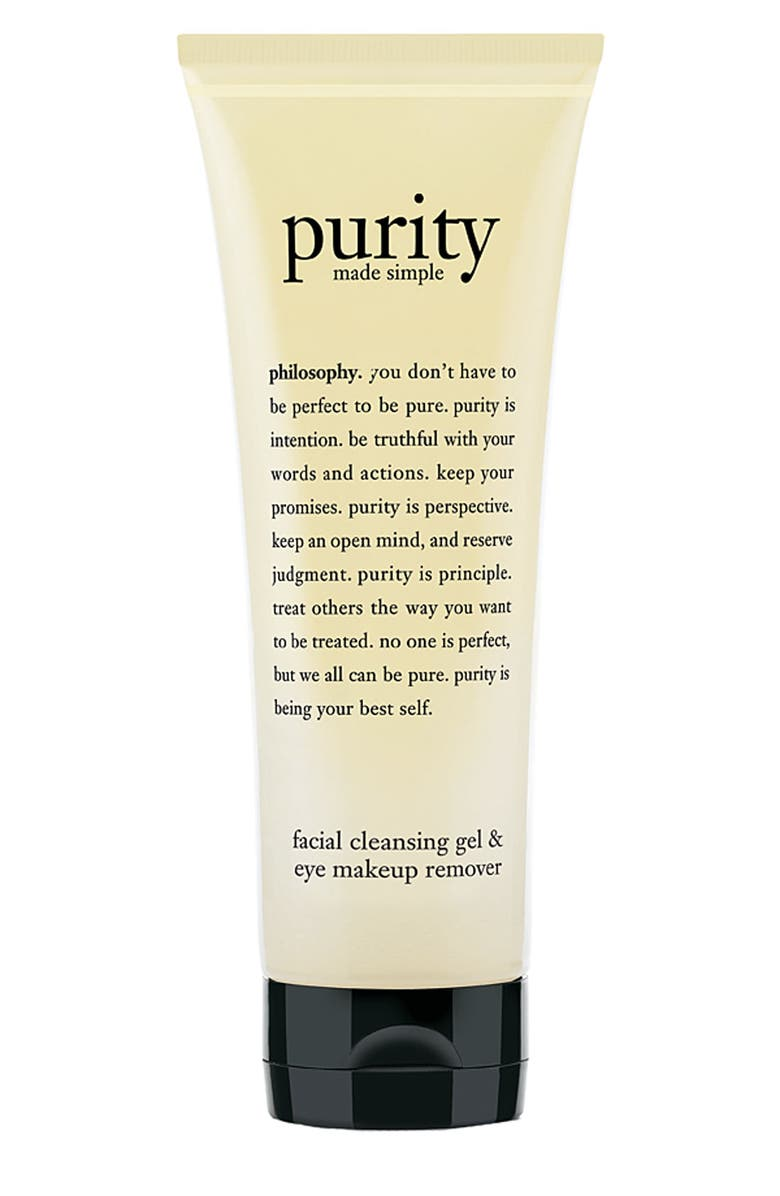 PHILOSOPHY 'purity made simple' facial cleansing gel & eye makeup remover, Main, color, 000