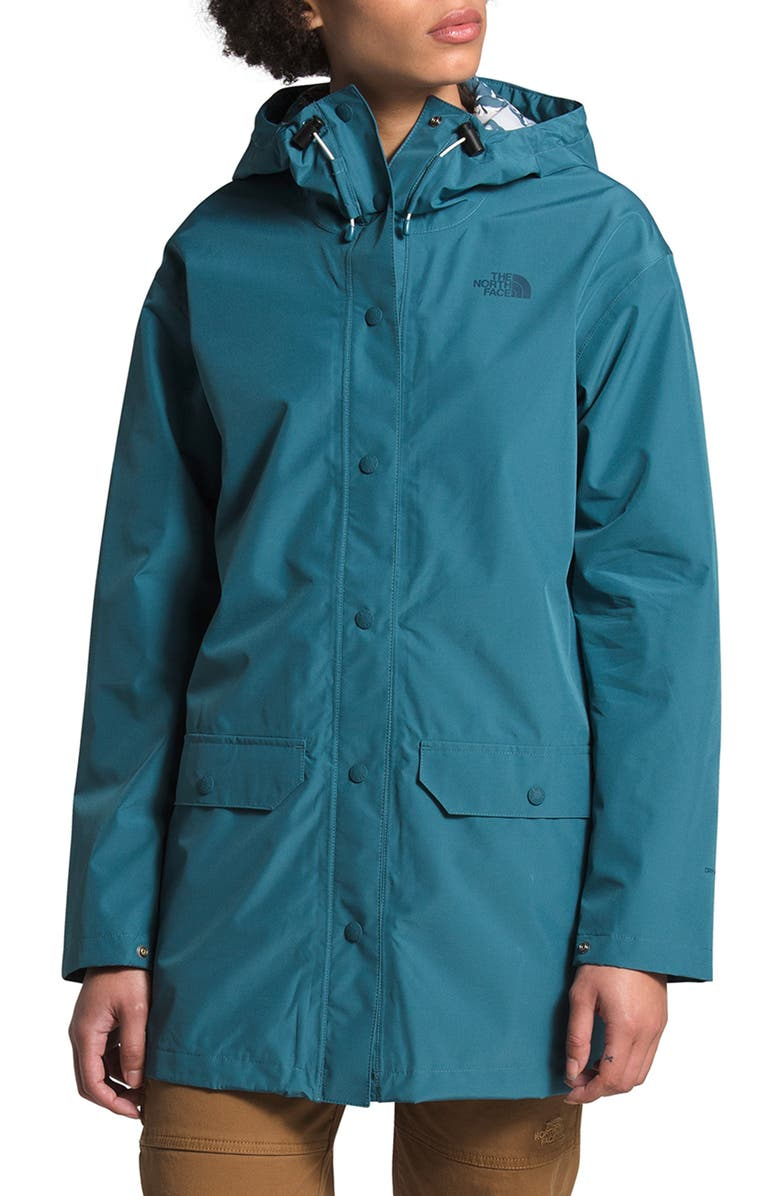 THE NORTH FACE Liberty Woodmount Water Repellent Recycled Raincoat, Main, color, MALLARD BLUE