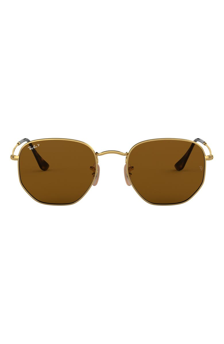 RAY-BAN 54mm Polarized Square Sunglasses, Main, color, GOLD/ BROWN