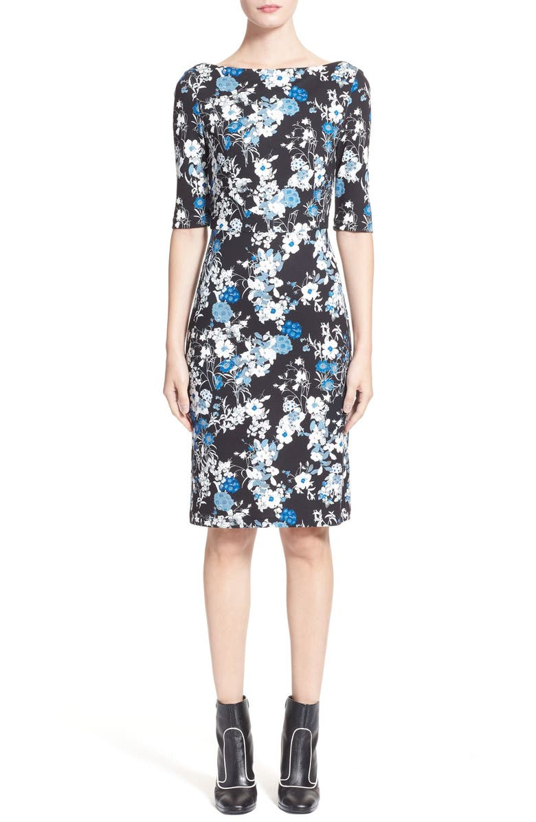 ERDEM 'Kirsten' Floral Print Boatneck Dress, Main, color, 002