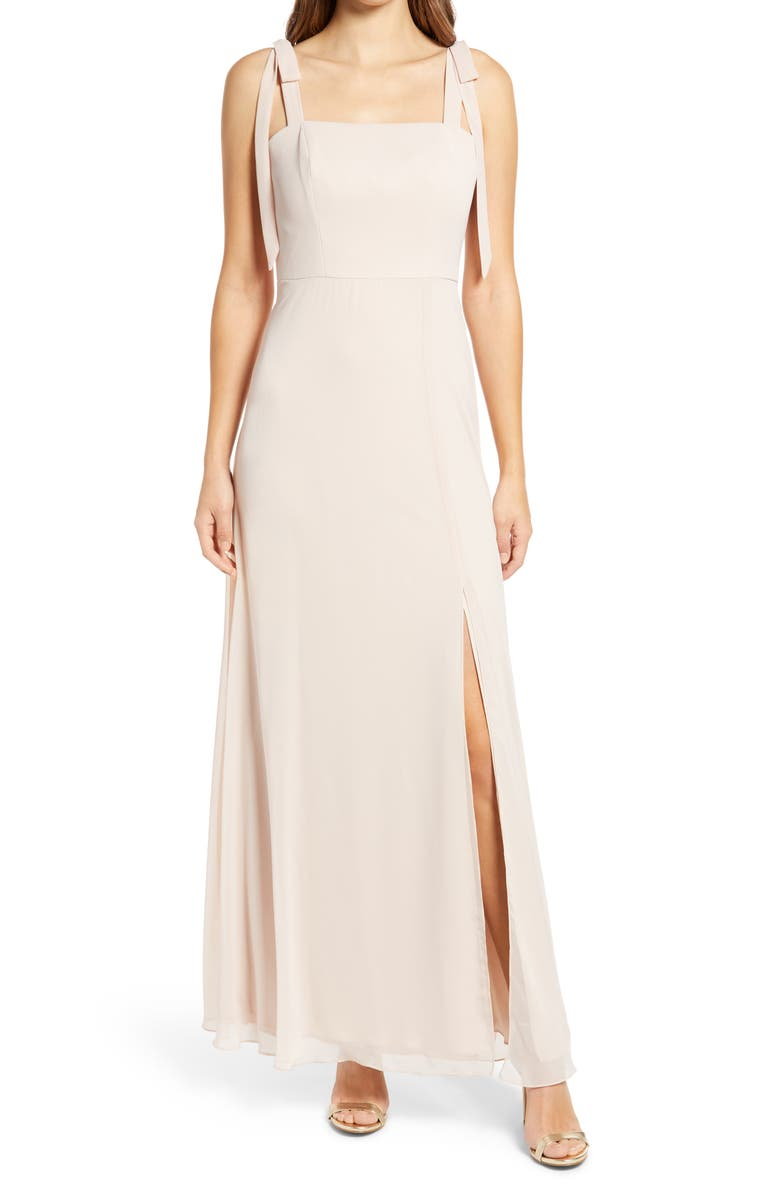 DESSY COLLECTION Shoulder Tie Chiffon A-Line Gown, Main, color, CAMEO