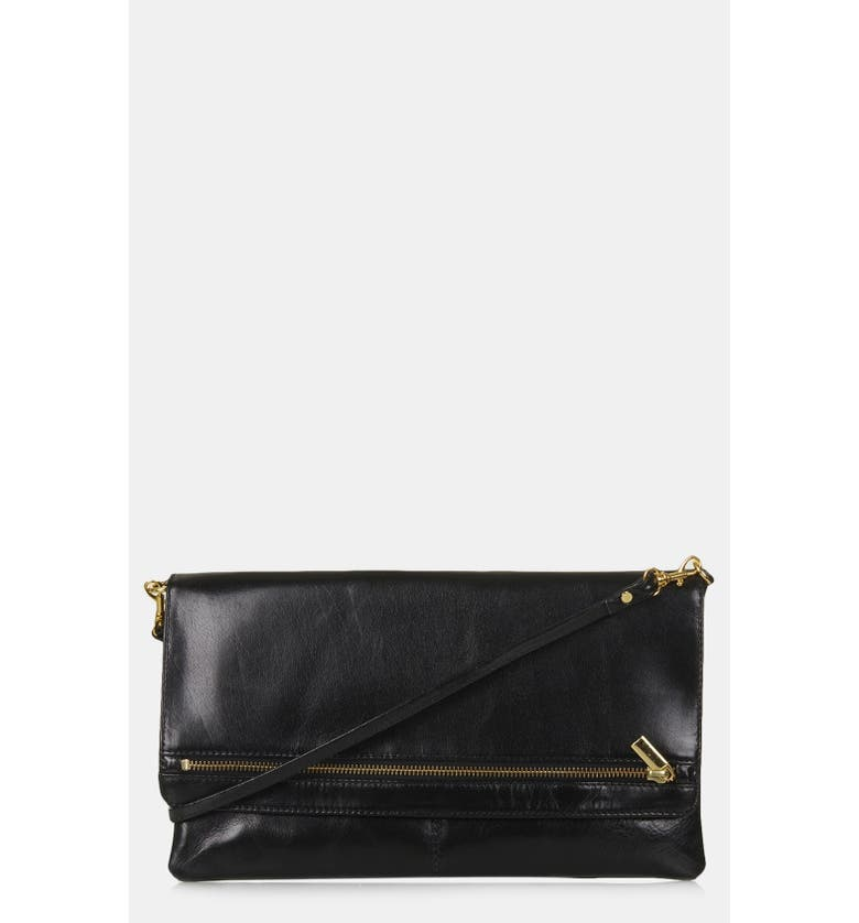 TOPSHOP Leather Foldover Leather Clutch, Main, color, 001