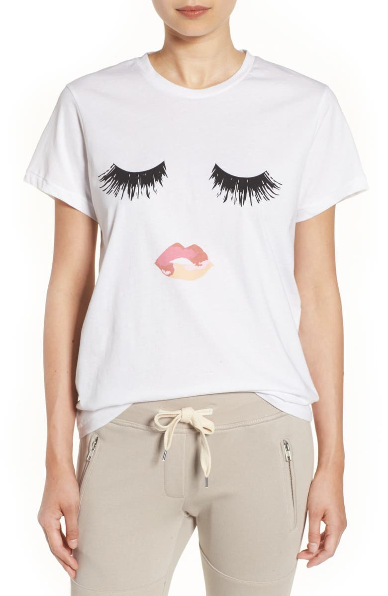 SINCERELY JULES 'Lips & Lashes' Graphic Tee, Main, color, 100