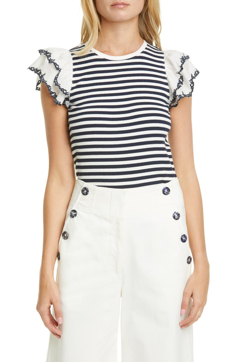 TANYA TAYLOR Adrien Stripe Frill Sleeve Stretch Cotton Top, Main, color, 466