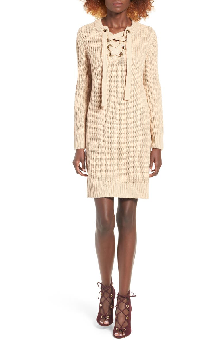 MOON RIVER Lace-Up Sweater Dress, Main, color, TAN