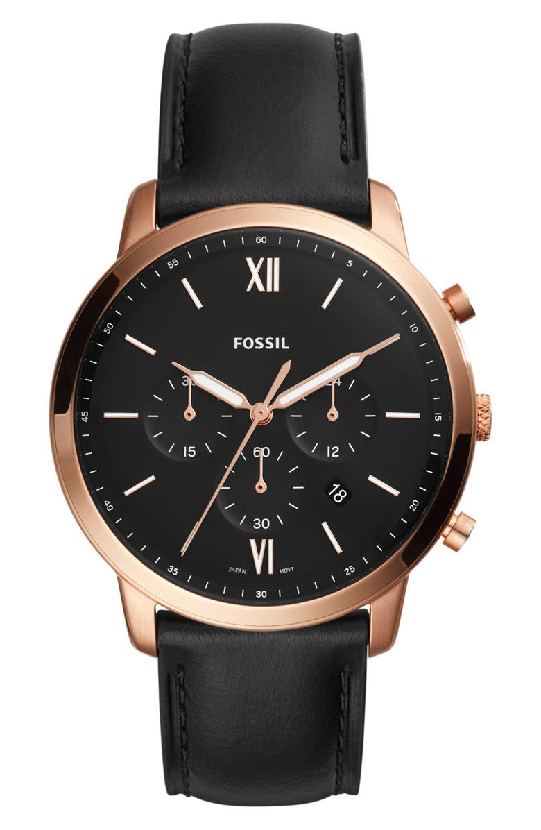 FOSSIL Neutra Chronograph Leather Strap Watch, 44mm, Main, color, 001
