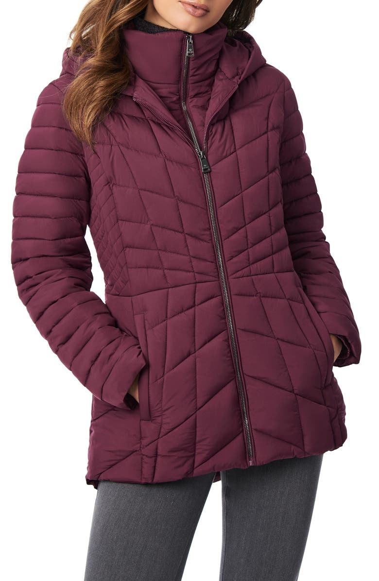 BERNARDO Micro Touch Water Resistant Quilted Jacket, Main, color, FIG