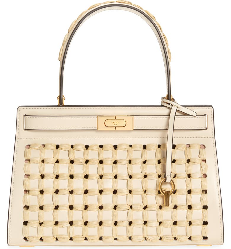 TORY BURCH Lee Radziwill Perforated Small Leather Bag, Main, color, NEW CREAM