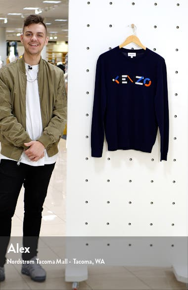 Multicolor Embroidered Logo Men's Crewneck Sweater, sales video thumbnail