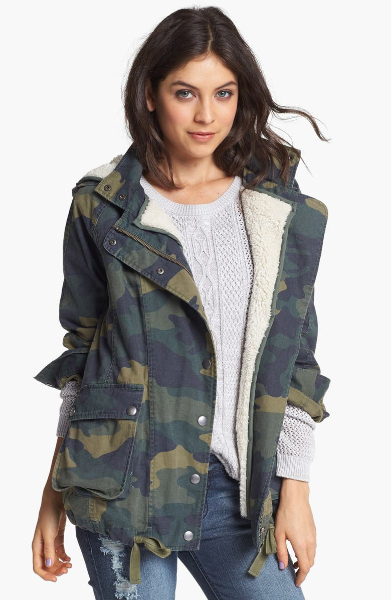 BP. Faux Shearling Lined Slouchy Jacket, Main, color, MID CAMOUFLAGE GREY- URBAN