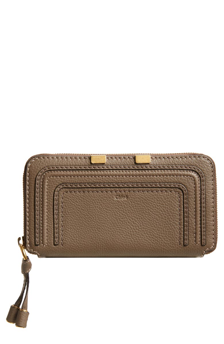CHLOÉ 'Marcie - Long' Zip Around Wallet, Main, color, 23Q ARMY GREEN