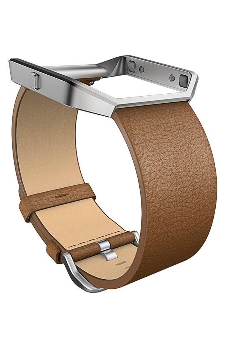 FITBIT Blaze Leather Smart Watch Band, Main, color, CAMEL
