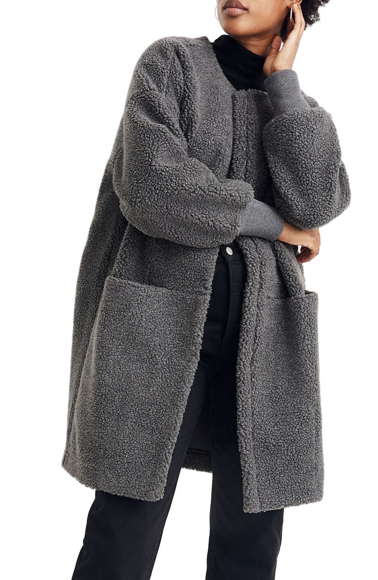 MADEWELL Bonded Fleece Cocoon Coat, Main, color, 001