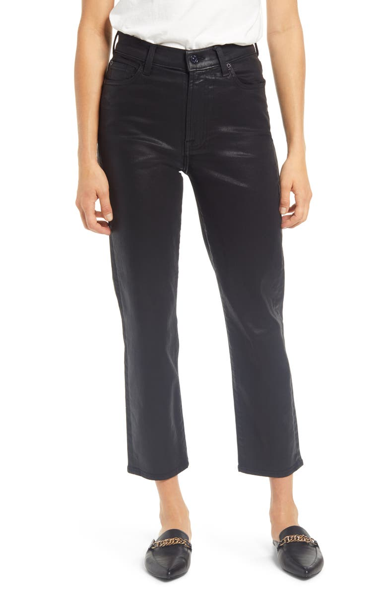 7 FOR ALL MANKIND<SUP>®</SUP> High Waist Coated Crop Straight Leg Jeans, Main, color, BLKCOATING
