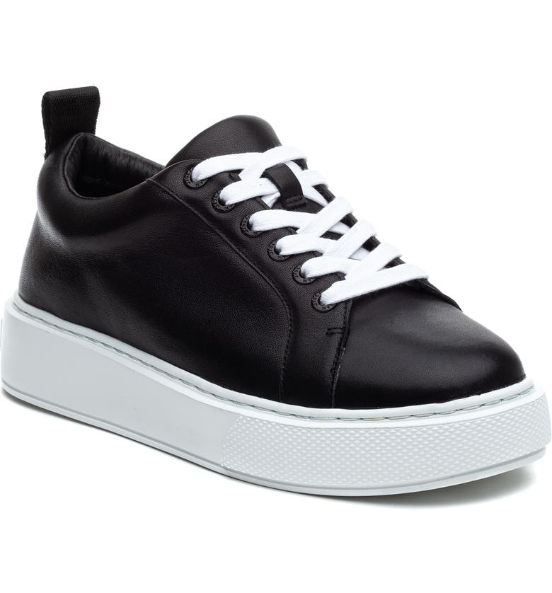 JSLIDES Delilah Platform Sneaker, Main, color, BLACK LEATHER