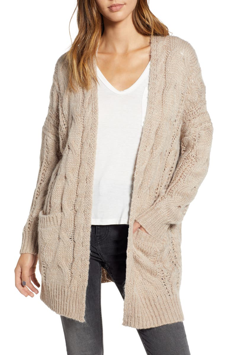 DREAMERS BY DEBUT Chunky Cable Knit Cardigan, Main, color, TAUPE