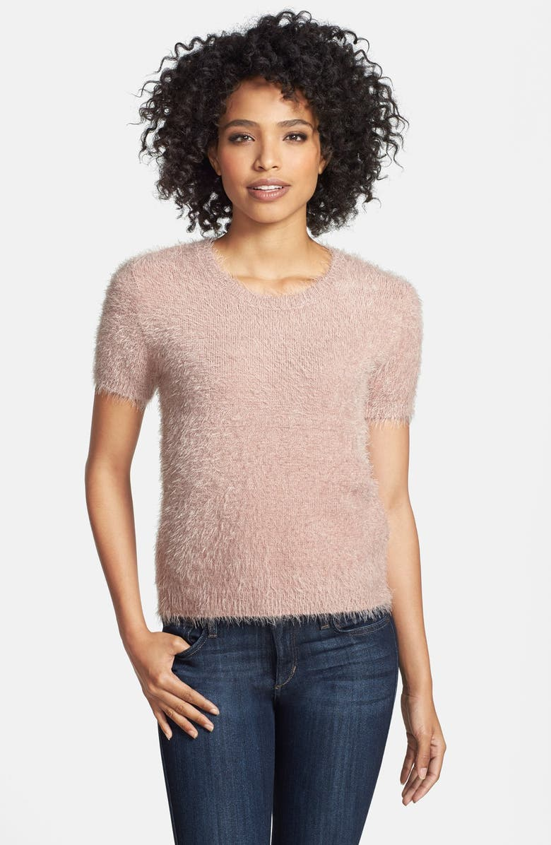 TWO BY VINCE CAMUTO Eyelash Yarn Crewneck Sweater, Main, color, DUSTY PINK