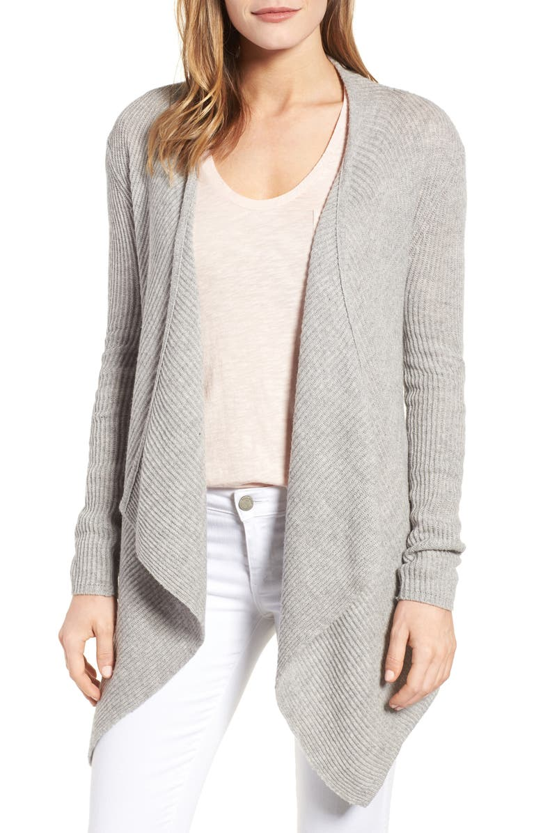 VELVET BY GRAHAM & SPENCER Ribbed Cashmere Open Front Cardigan, Main, color, HEATHER GREY