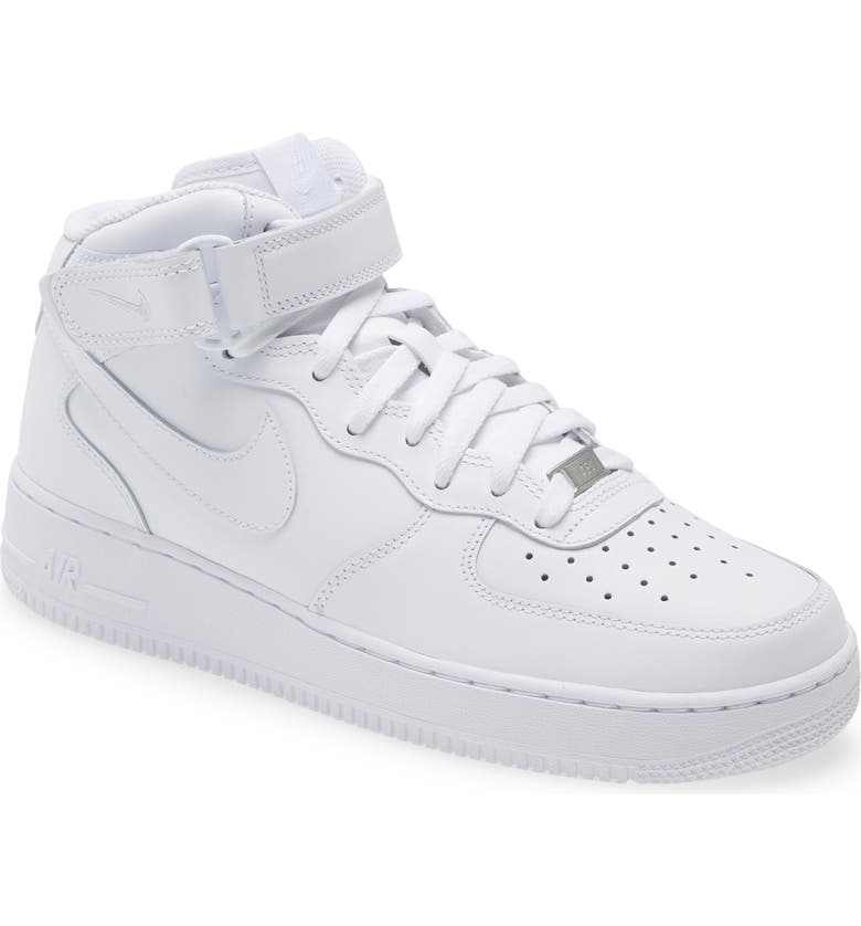 NIKE Air Force 1 Mid '07 Sneaker, Main, color, WHITE/ WHITE/ WHITE