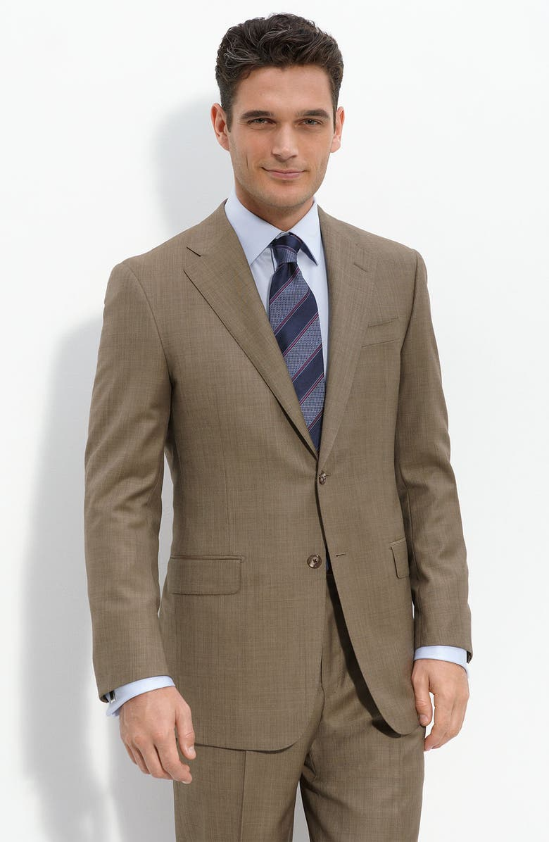 HICKEY FREEMAN Brown Worsted Wool Suit, Main, color, 200