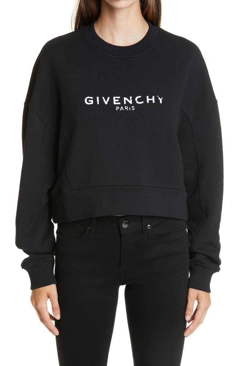 GIVENCHY Logo Graphic Crop Cotton Sweatshirt, Main, color, BLACK