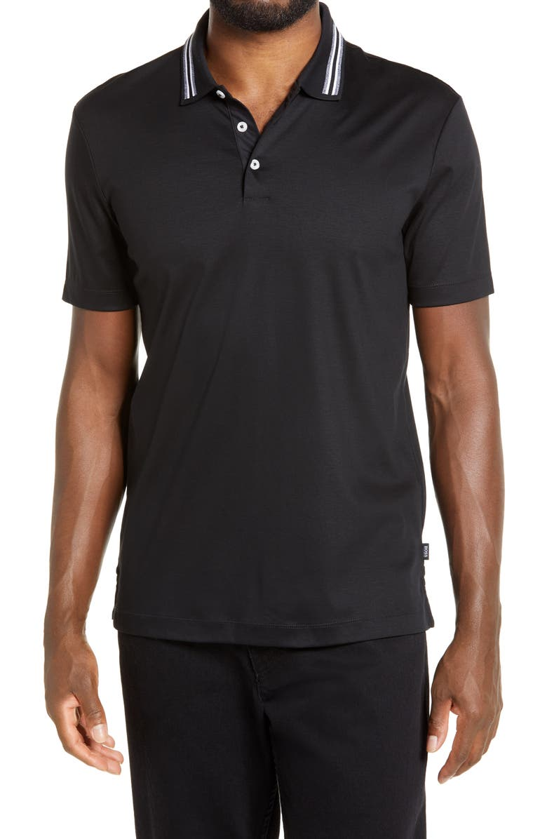 BOSS Piket Tipped Collar Polo, Main, color, 001
