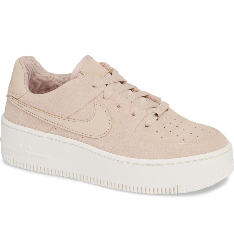NIKE Air Force 1 Sage Low Platform Sneaker, Main, color, PARTICLE BEIGE/ BEIGE/ PHANTOM