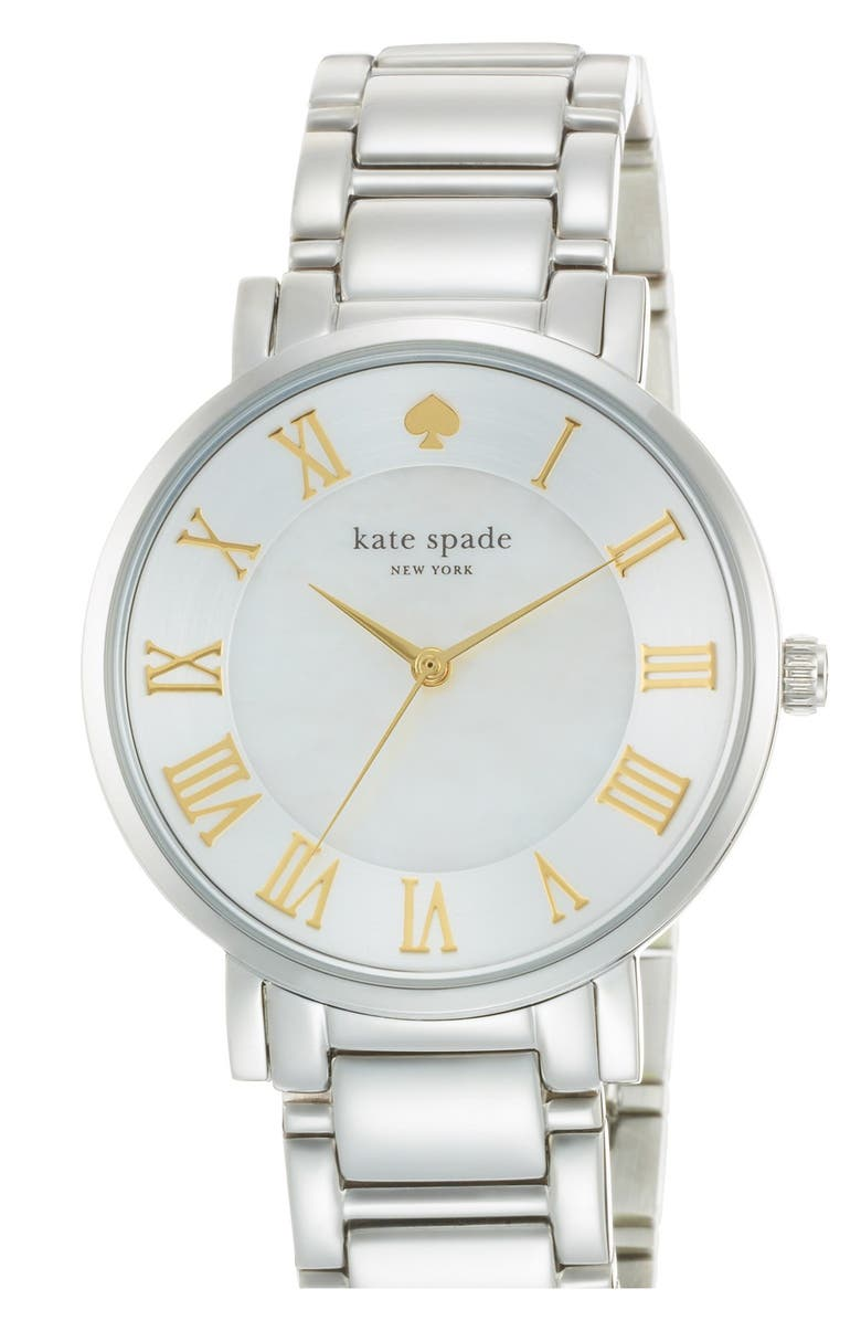 KATE SPADE NEW YORK 'gramercy grand' round bracelet watch, 38mm, Main, color, 040