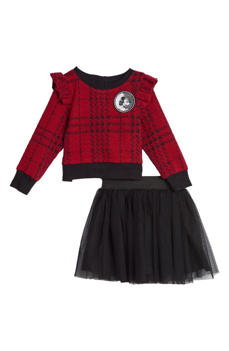 PIPPA & JULIE x Disney Mickey Mouse Double Knit Ruffle Sweater & Tutu Skirt Set, Main, color, 619