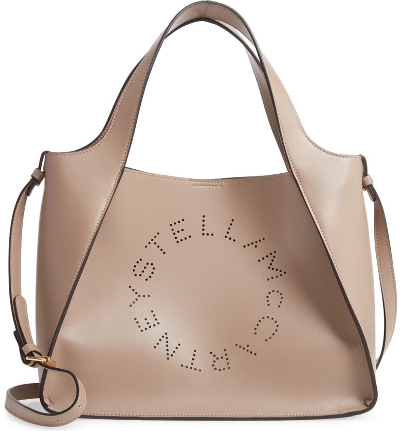 STELLA MCCARTNEY Perforated Logo Faux Leather Satchel, Main, color, MOSS