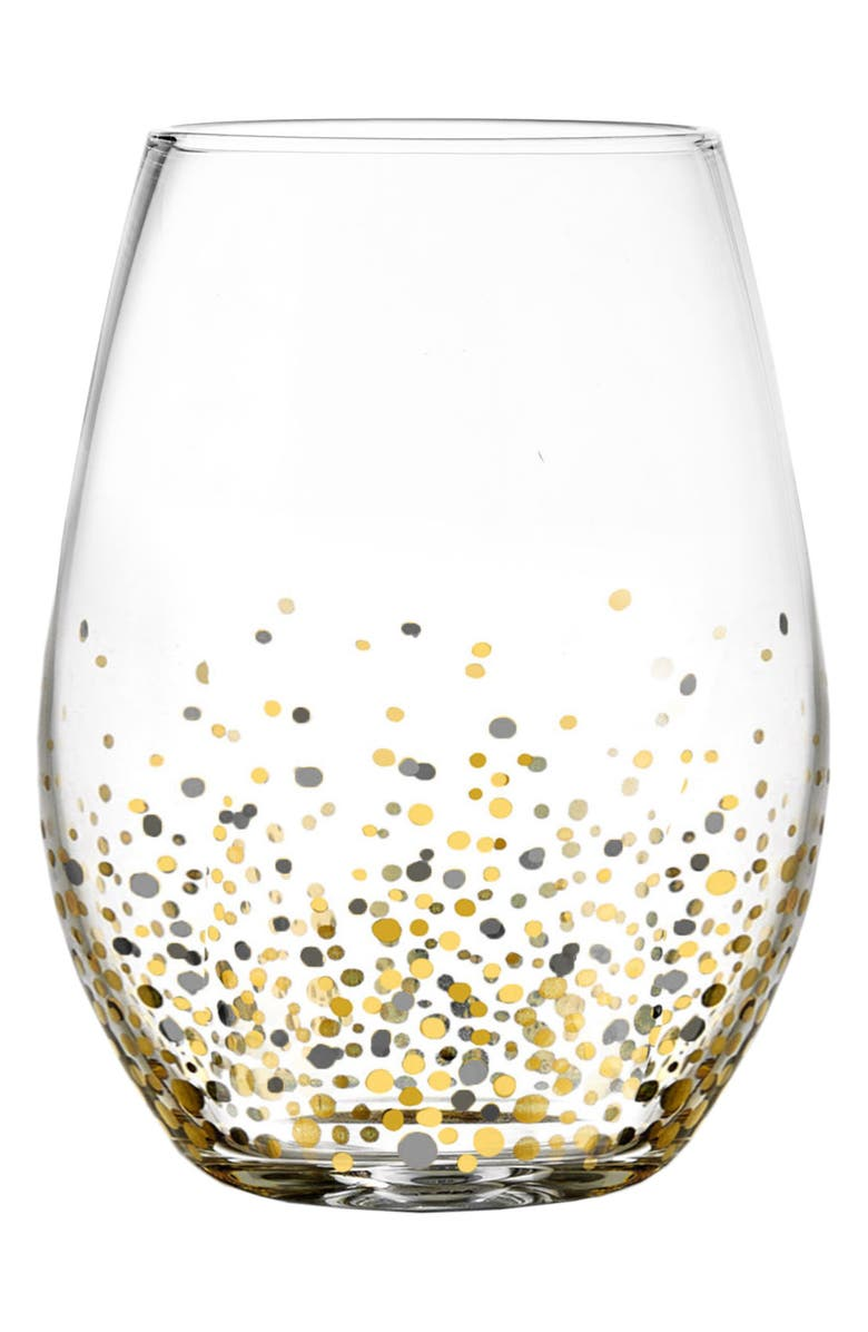 AMERICAN ATELIER Set of 4 Confetti Stemless Wine Glasses, Main, color, 001