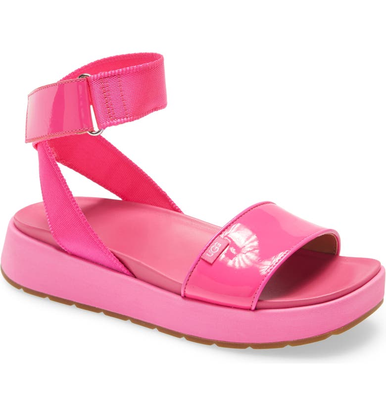 UGG<SUP>®</SUP> Lennox Platform Sandal, Main, color, ROCK ROSE FABRIC/ PATENT