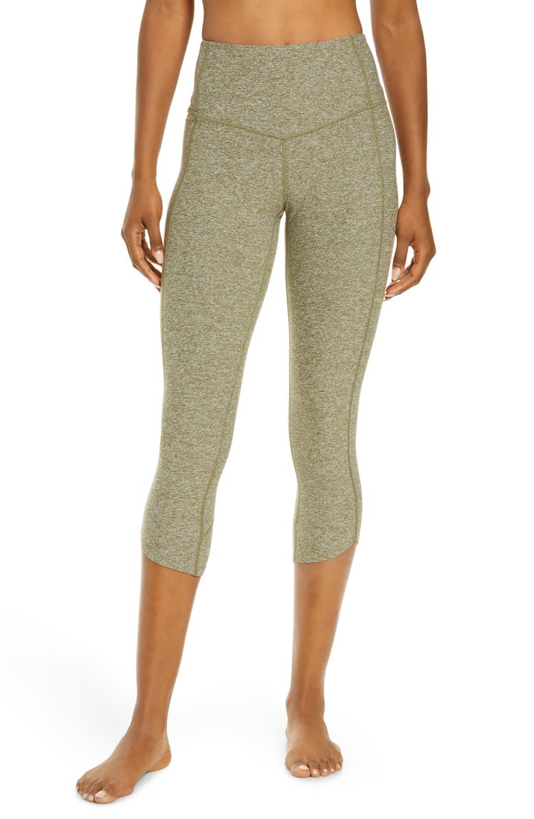 ZELLA Restore Soft High Waist Tulip Crop Leggings, Main, color, OLIVE BRANCH