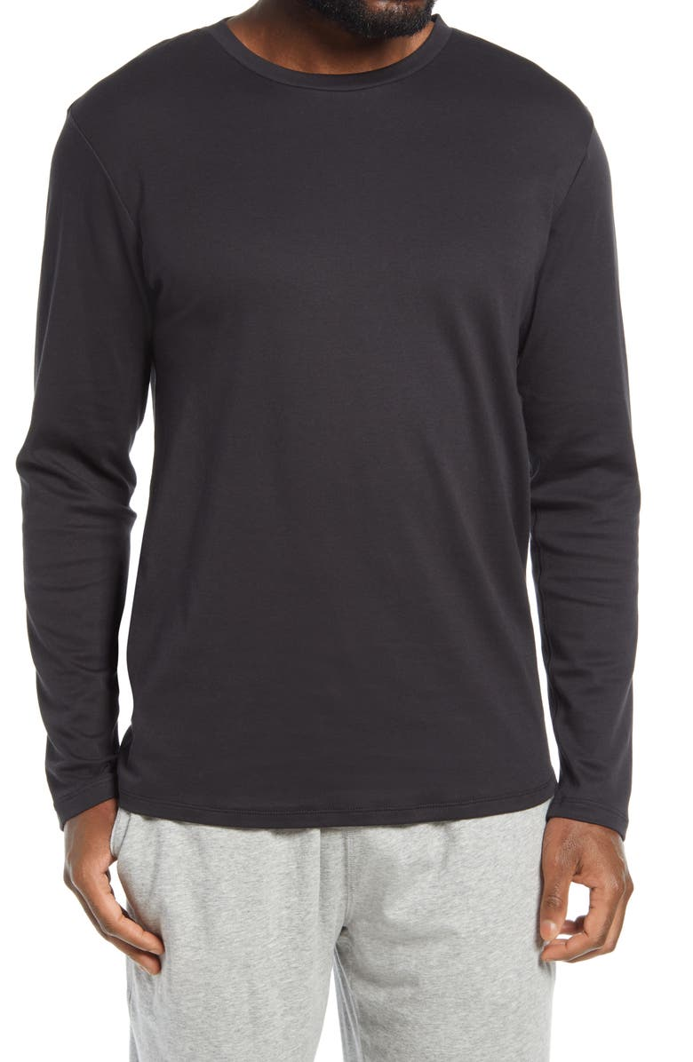 NORDSTROM Long Sleeve Pima Cotton Lounge T-Shirt, Main, color, 001