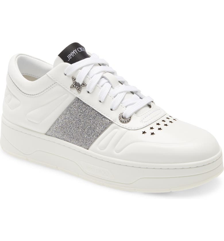 JIMMY CHOO Hawaii Lace-Up Sneaker, Main, color, WHITE/ SILVER