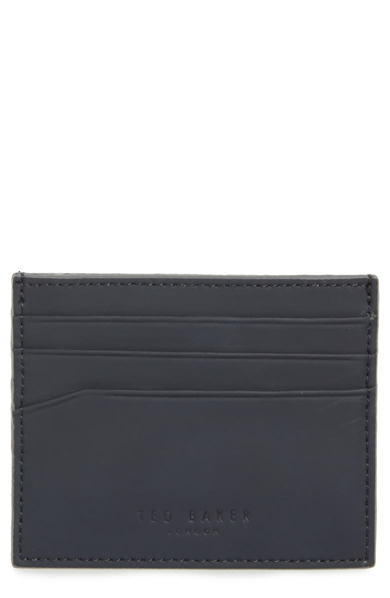 TED BAKER LONDON Sands Rubber Leather Card Case, Main, color, NAVY