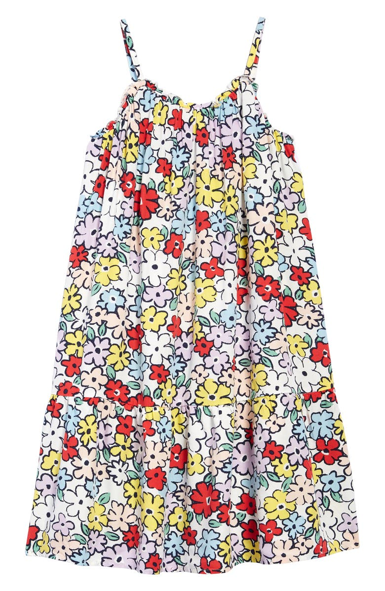TUCKER + TATE Kids' Ruffle Floral Dress, Main, color, RED TOMATO WILD FLOWERS