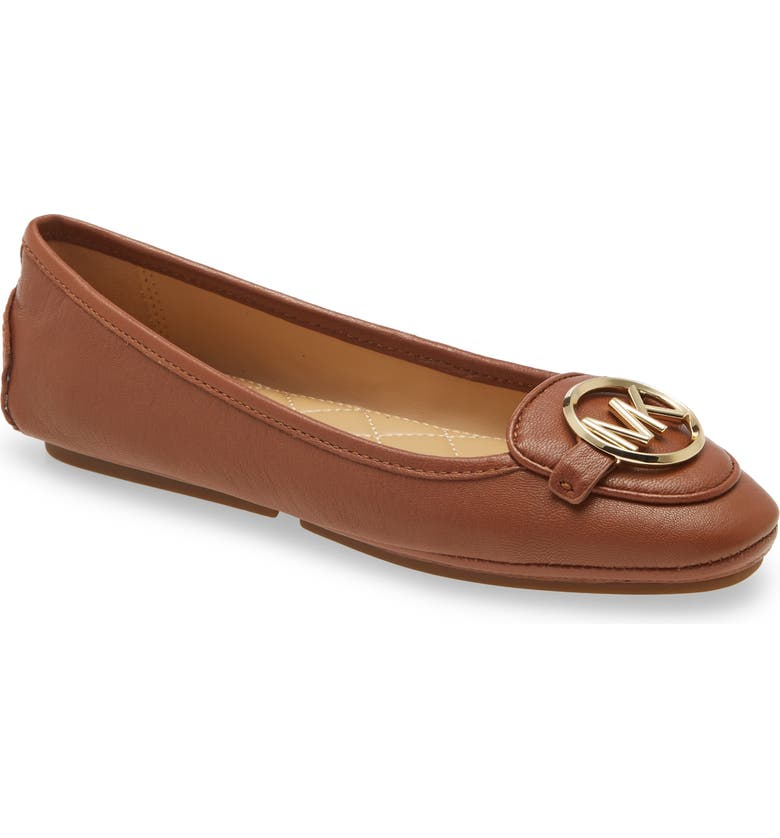 MICHAEL MICHAEL KORS Lillie Logo Ballet Flat, Main, color, LUGGAGE LEATHER