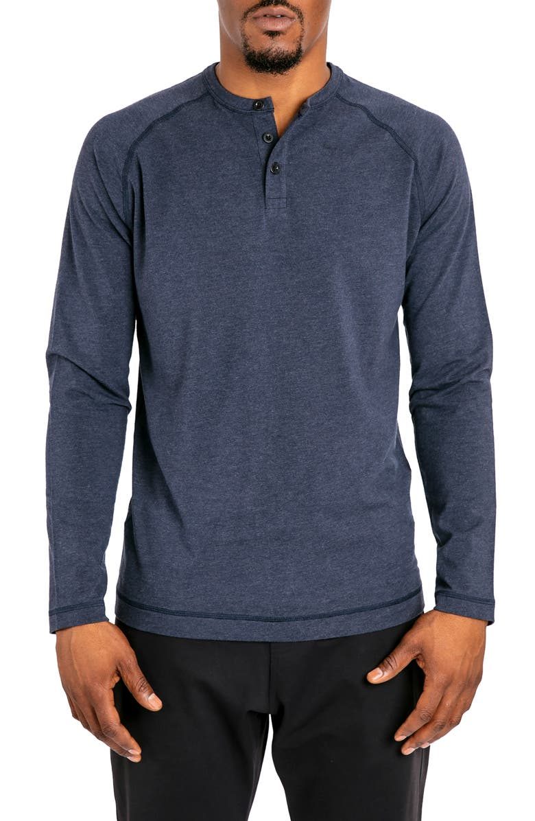 PUBLIC REC Go-To Long Sleeve Performance Henley T-Shirt, Main, color, HEATHER NAVY