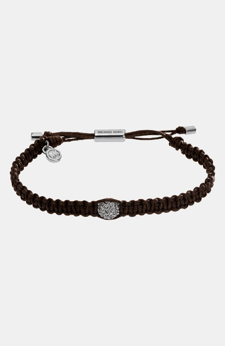 MICHAEL MICHAEL KORS Michael Kors 'Safari Glam' Adjustable Leather Cord Bracelet, Main, color, 201
