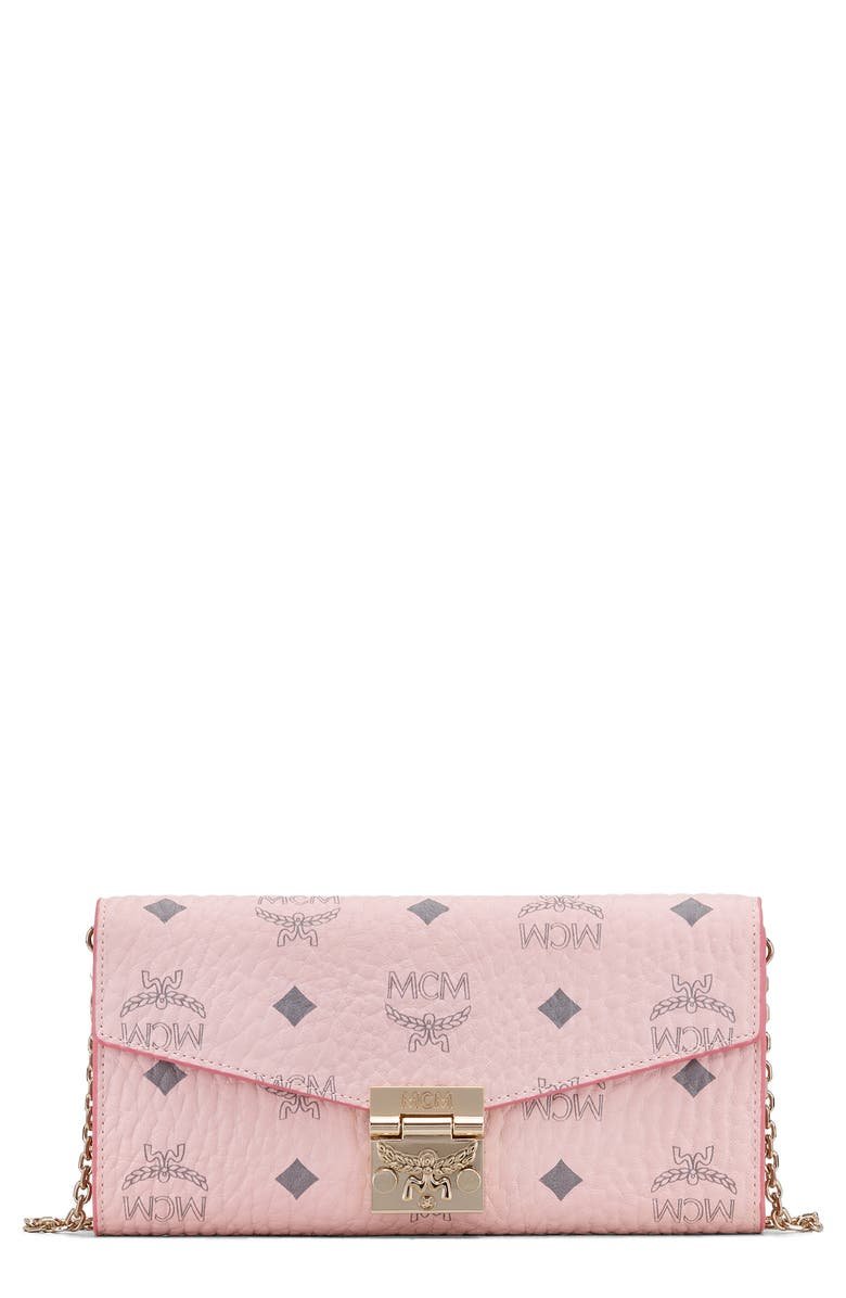 MCM Coated Canvas Wallet on a Chain, Main, color, POWDER PINK