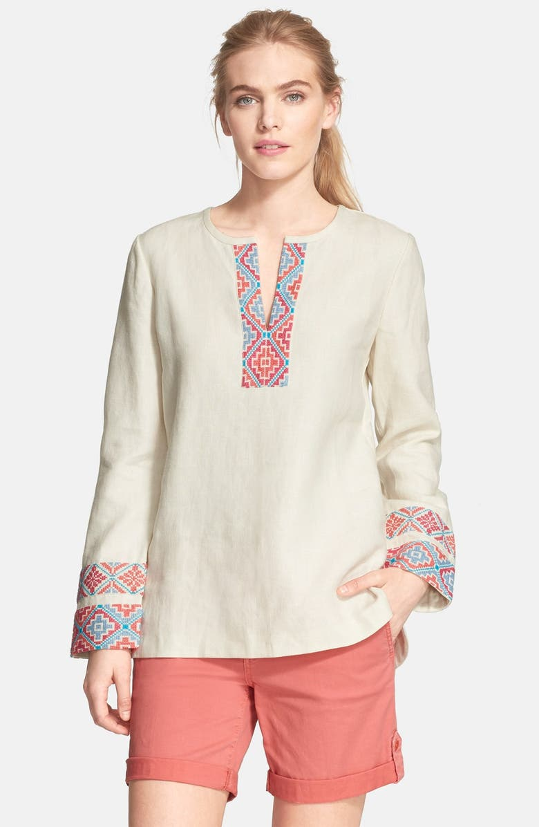 TORY BURCH Piece & Co. and Tory Burch 'McKenna' Tunic, Main, color, IVORY MULTI