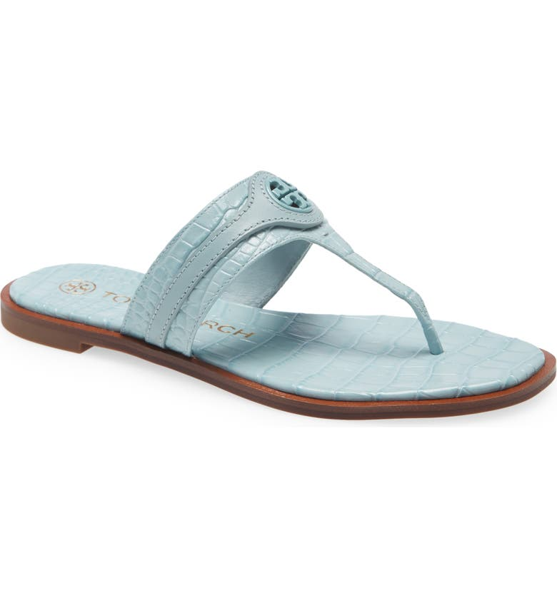 TORY BURCH Carson Thong Welt Sandal, Main, color, NORTHERN BLUE