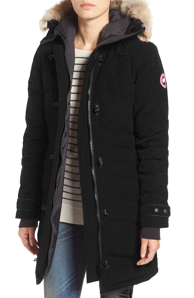 CANADA GOOSE Lorette Hooded Down Parka with Genuine Coyote Fur Trim, Main, color, BLACK