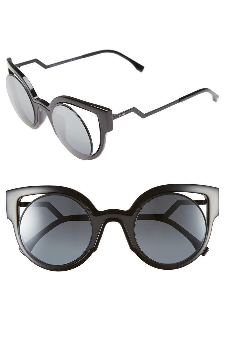 FENDI 'Orchidea' 49mm Cat Eye Sunglasses, Main, color, 001