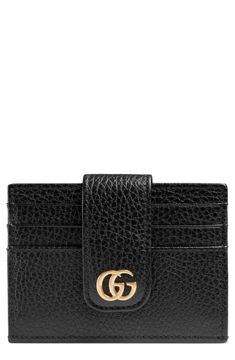 GUCCI GG Marmont Leather Card Case, Main, color, 001
