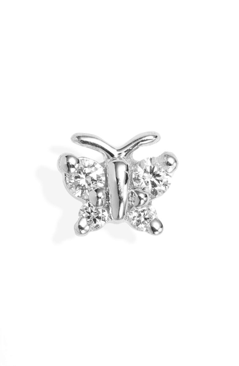 MARIA TASH Diamond Butterfly Stud Earring, Main, color, WHITE GOLD/ DIAMOND