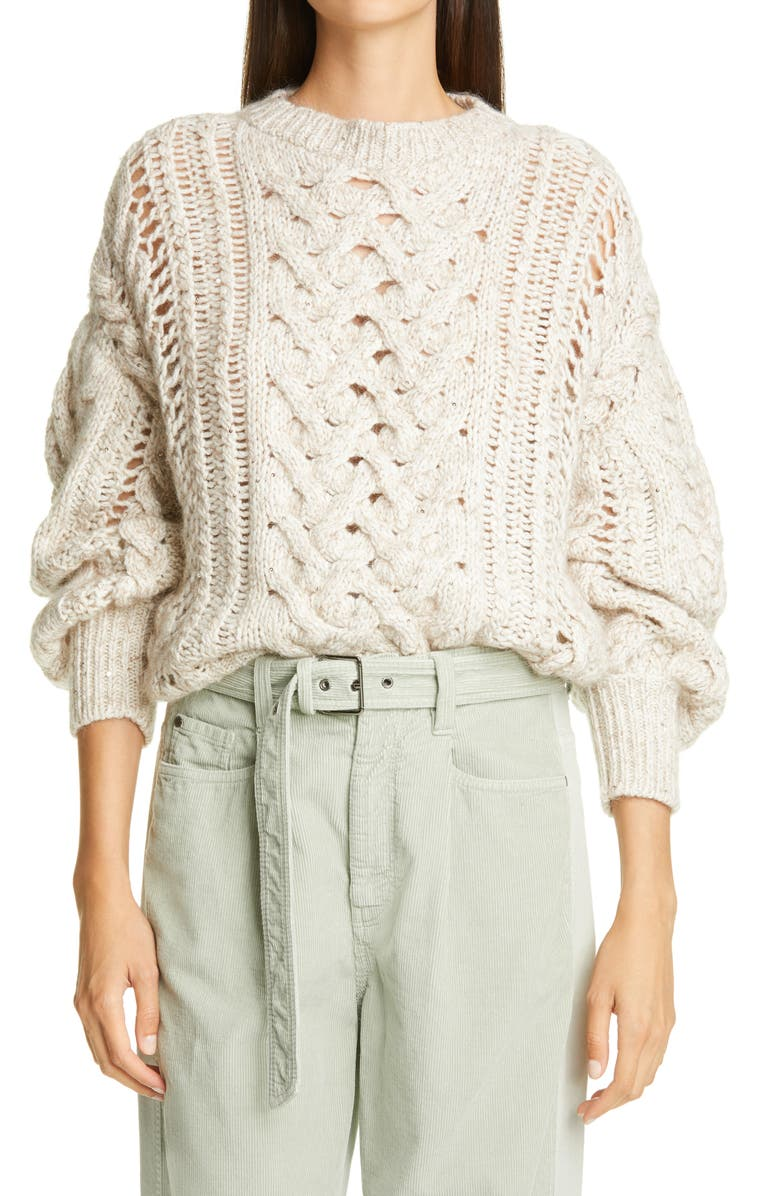 BRUNELLO CUCINELLI Embellished Cable Knit Cashmere Blend Sweater, Main, color, SAND