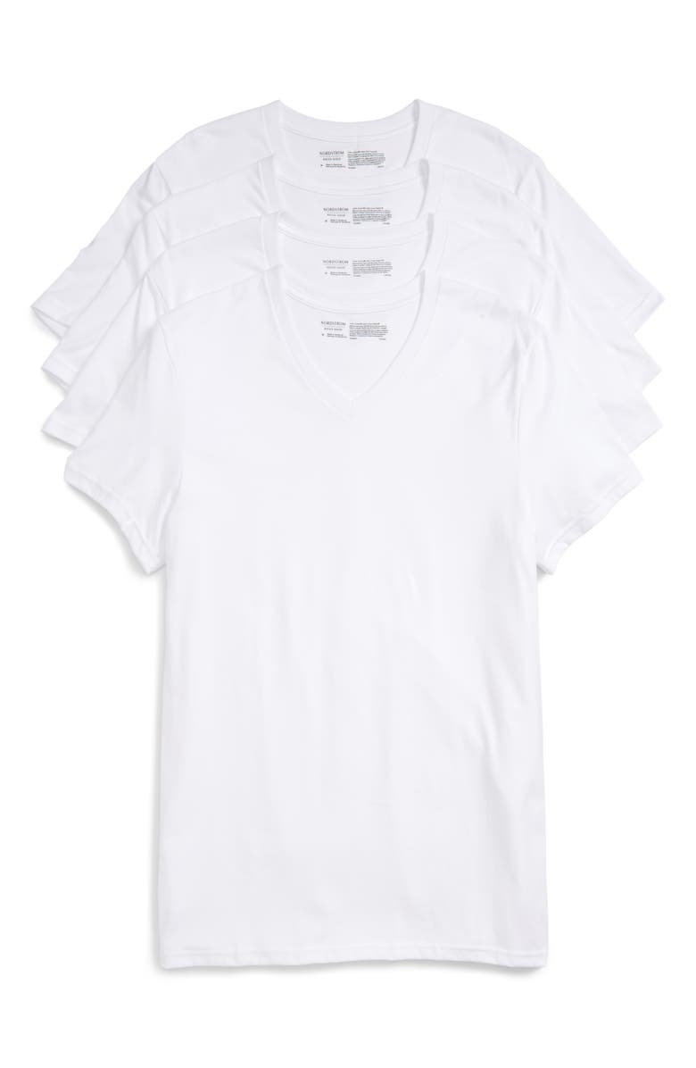 NORDSTROM 4-Pack Trim Fit Supima<sup>®</sup> Cotton V-Neck T-Shirts, Main, color, WHITE